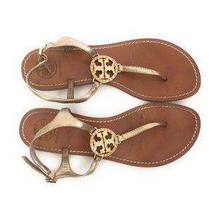 Tory Burch Violet Rose Gold Thong Sandals Size 8